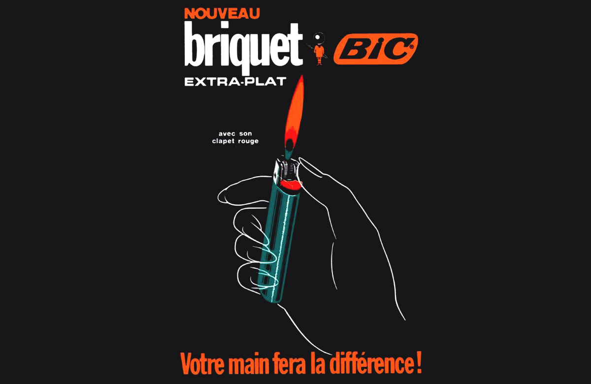 French ad for BIC pocket lighter showing a hand lighting a small blue lighter