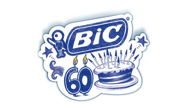 Blue ink drawing of a 60th birthday cake and BIC logo