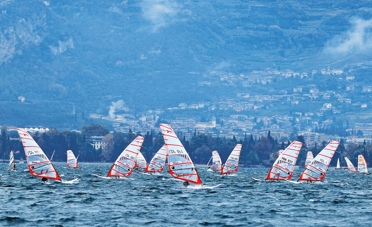 Windsurfers on the sea