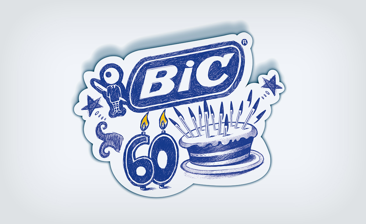 drawing of a birthday cake for the 60 years of BIC