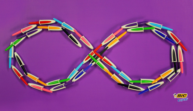 infinity symbol made of pens