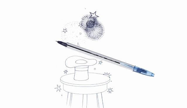 pen and drawing of a magician hat on a stool