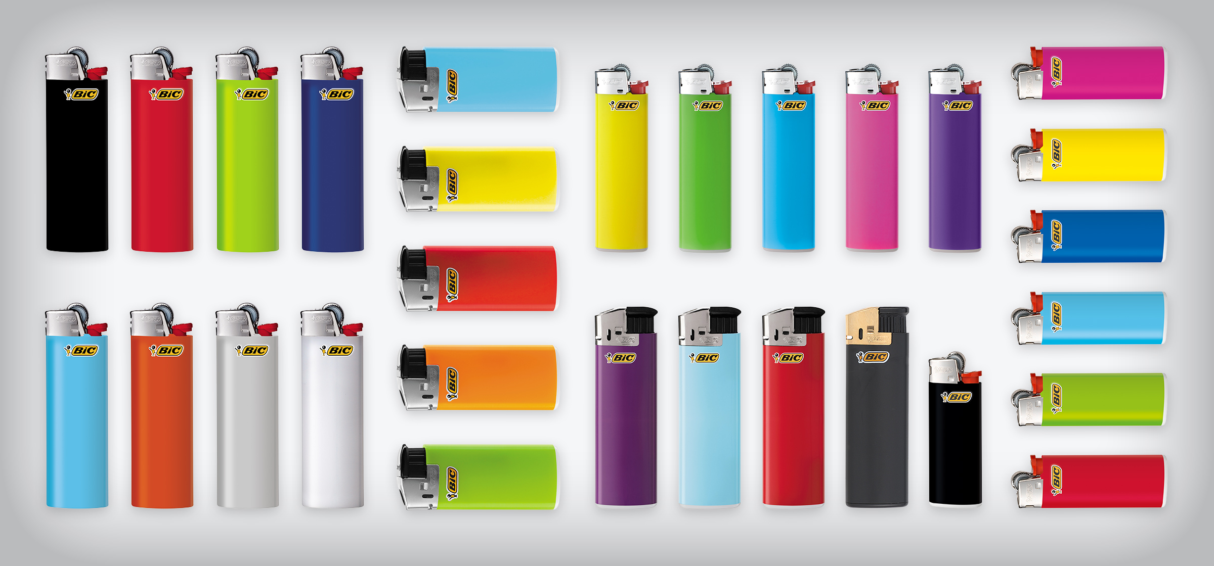 bunch of classic and electronic BIC lighters