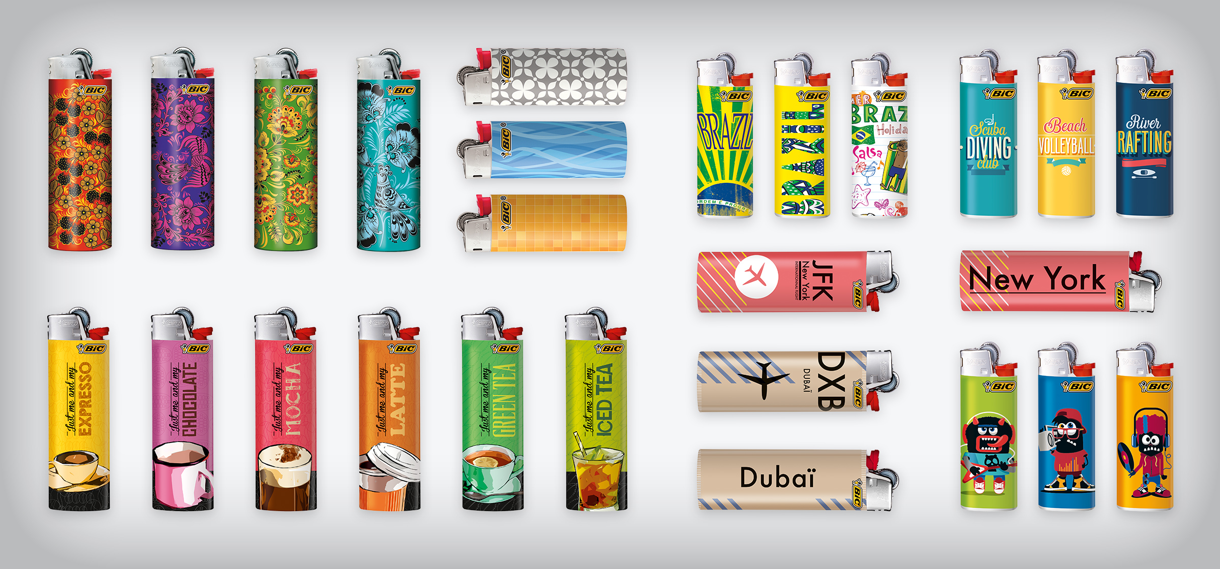 bunch of decorated BIC lighters