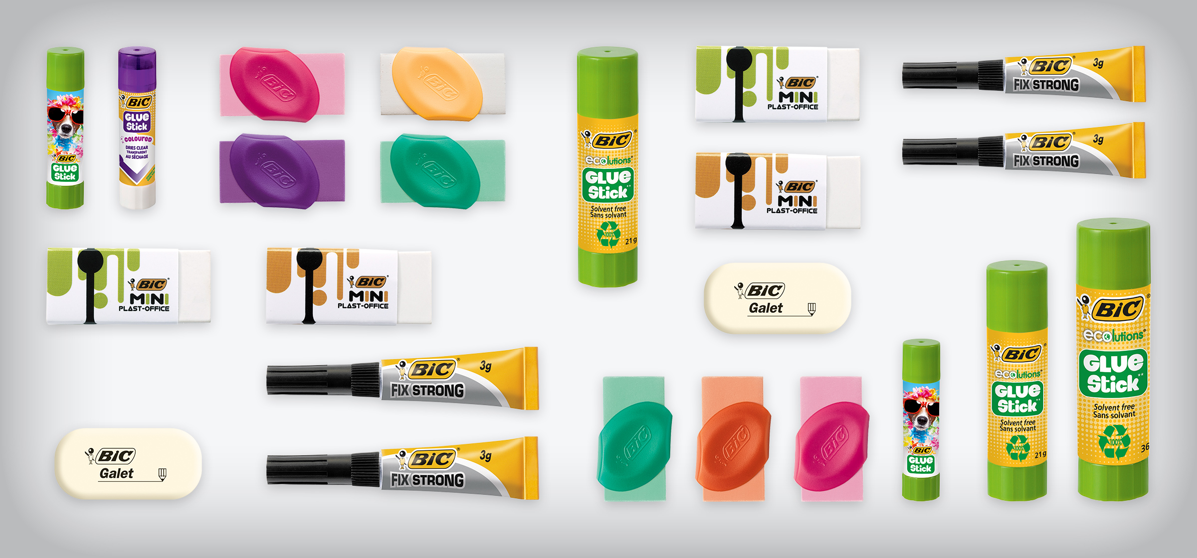 glue, glue sticks, erasers, section tags