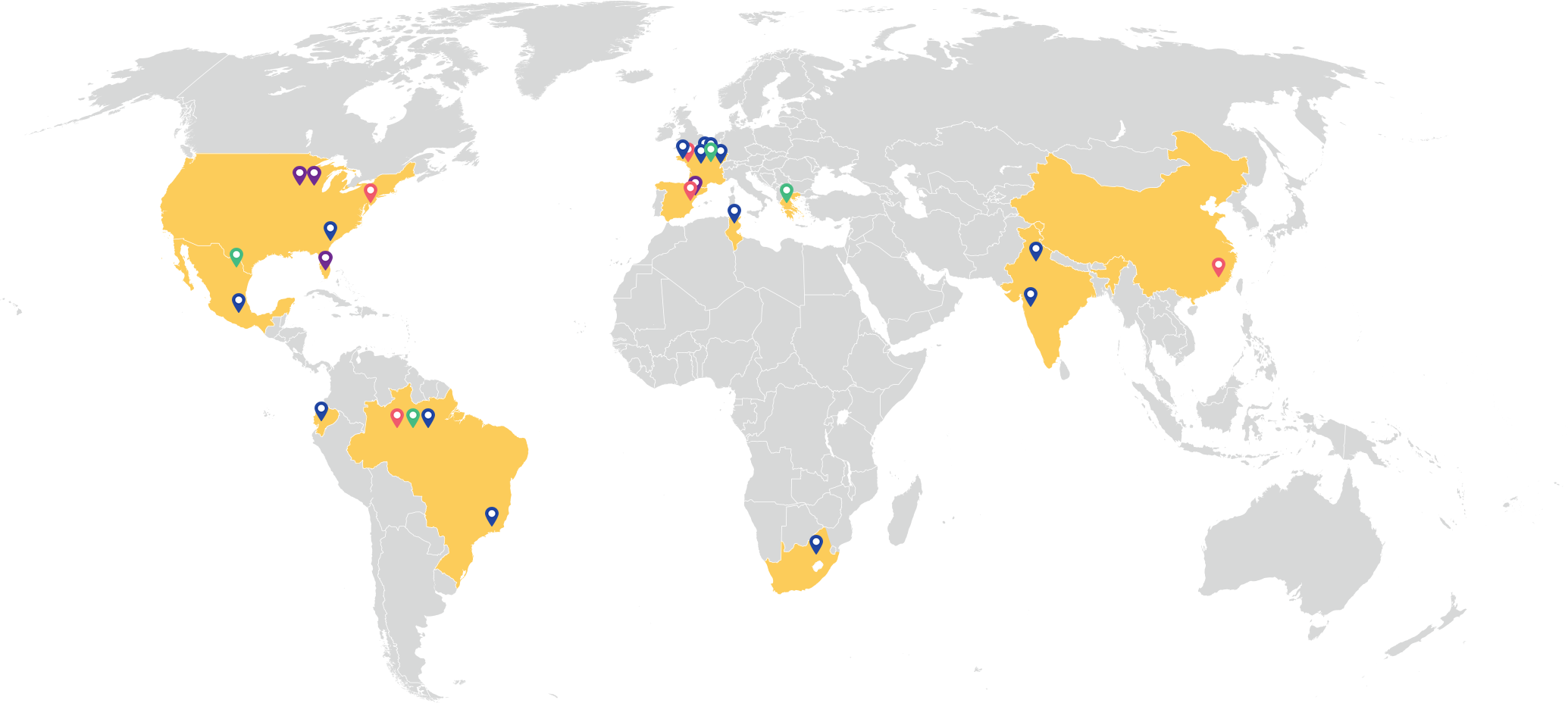 Global map of BIC's worldwide factories