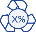 Recycling symbol with percentage sign