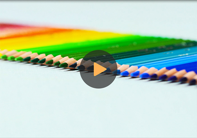 colorful pencils aligned