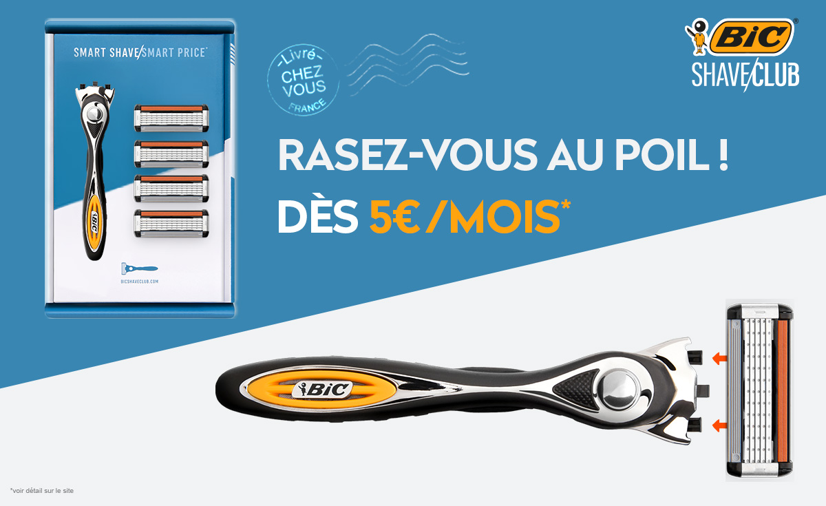 pack bic shave club with 5 blade razor
