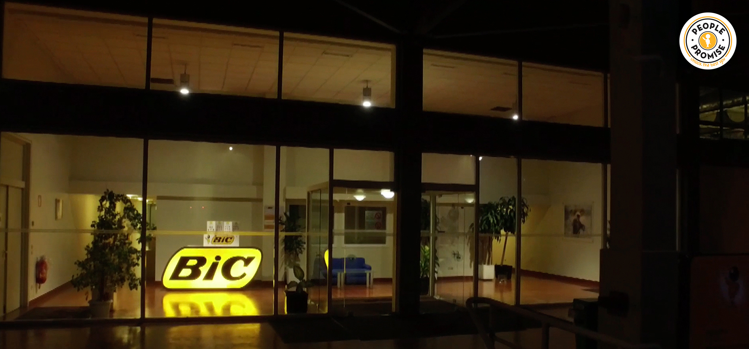 Exterior of BIC office at night