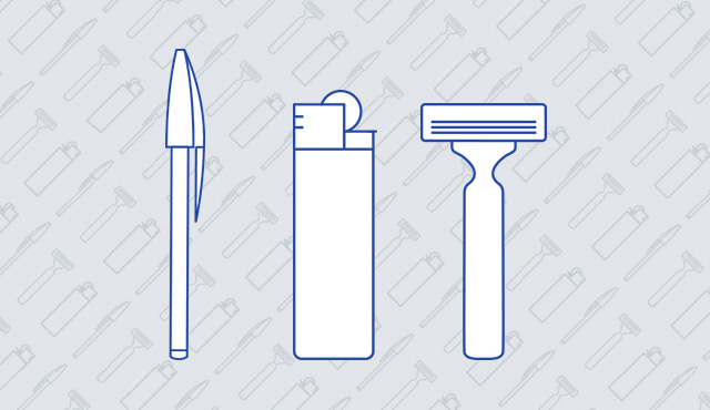 blue outline of a pen, a lighter and a razor