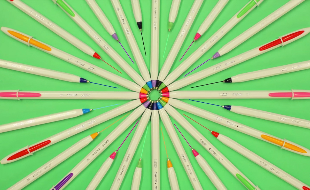 Bic pens in a circle