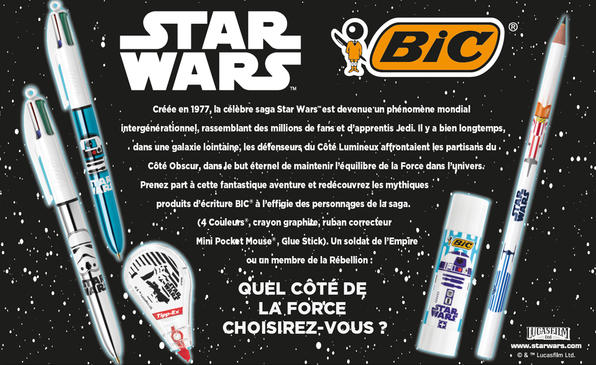 stylos et crayons bic star wars