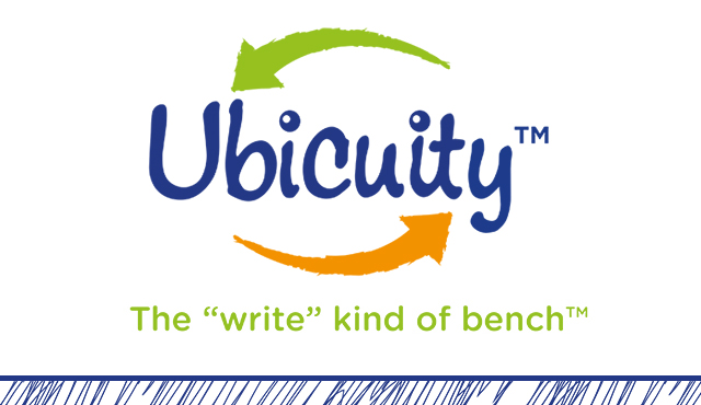 "Ubicuity logo and sentence ""the ""write"" kind of bench"