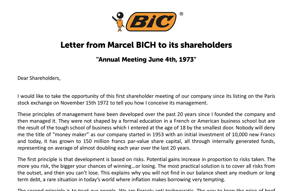 Letter from Marcel BICH to shareholders announcing BIC listing on the Paris Stock Exchange