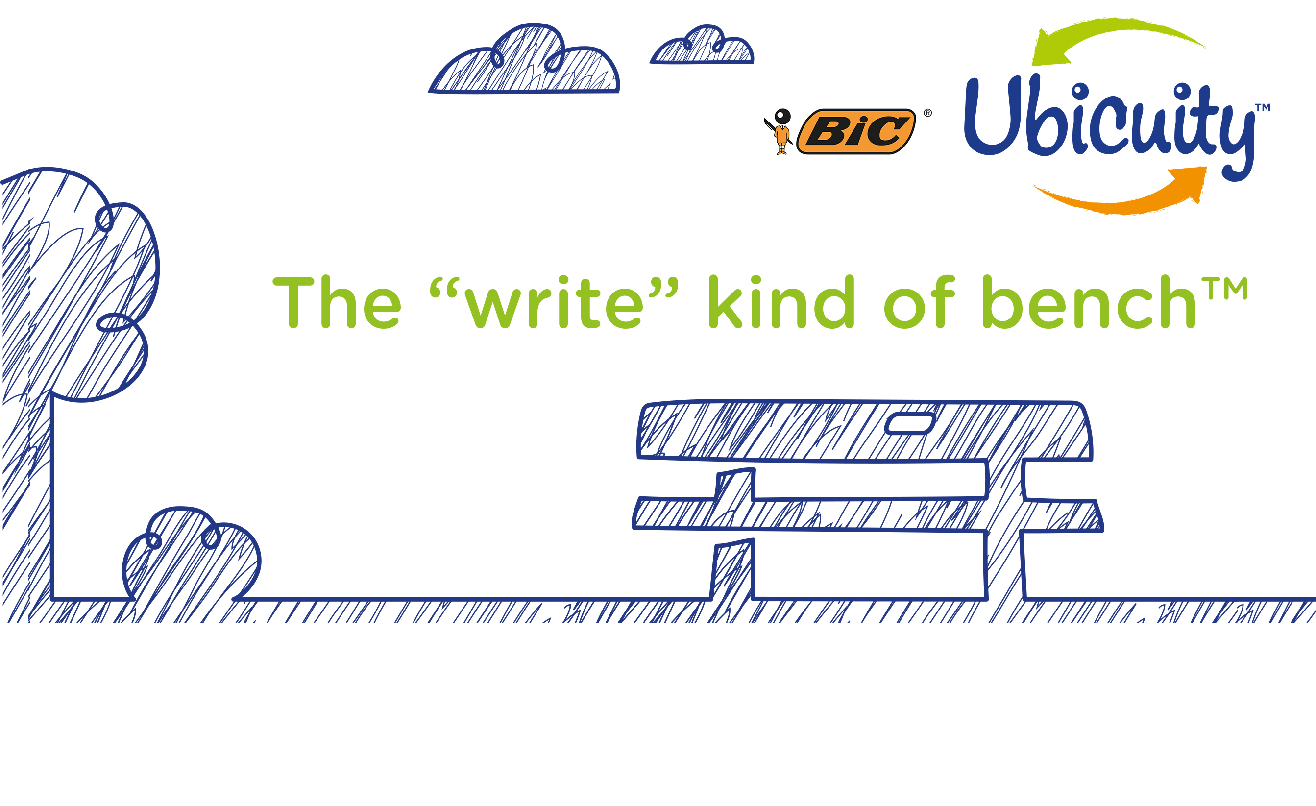 pen drawing with a bench and the logo Ubicuity