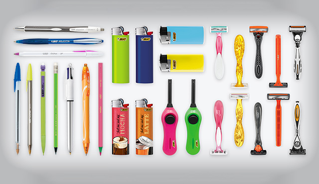 several bic products stationery, lighters and shavers