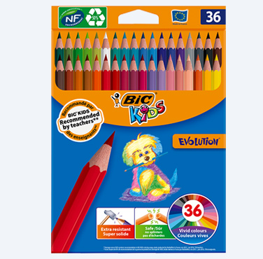 BIC EVOLUTION CCRAYONS DE COULEUR BIC EVOLUTION PACK DE 36 AVEC 12 NOUVELLES COULEURSOLORING PENCILS 36-PACK WITH 12 NEW COLORS