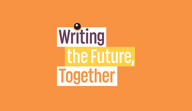 logo writing the future, together on an orange background