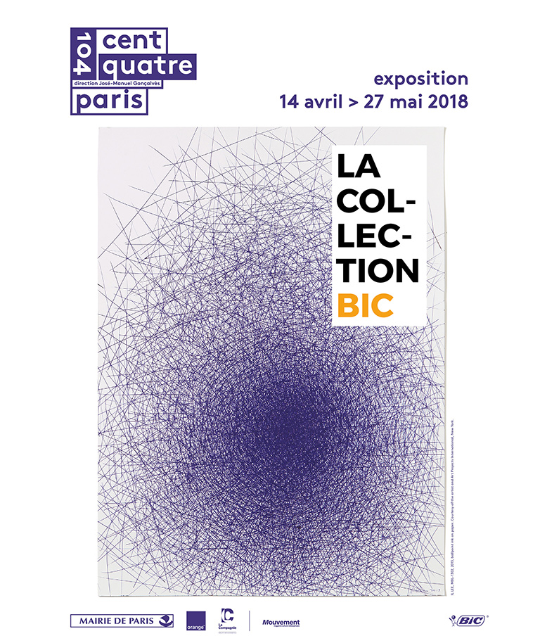 poster of the exhibition with a work of art drawn with a bic pen