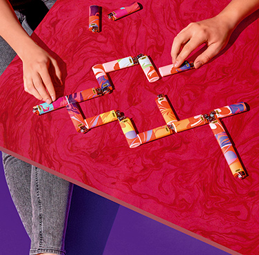 domino game  with bic lighters