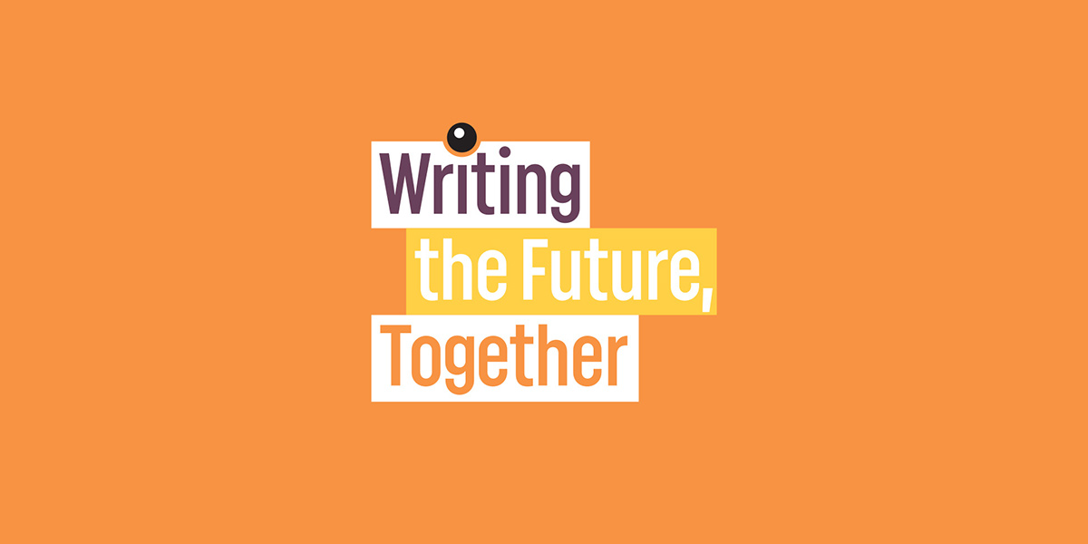 writing the future together on orange background logo