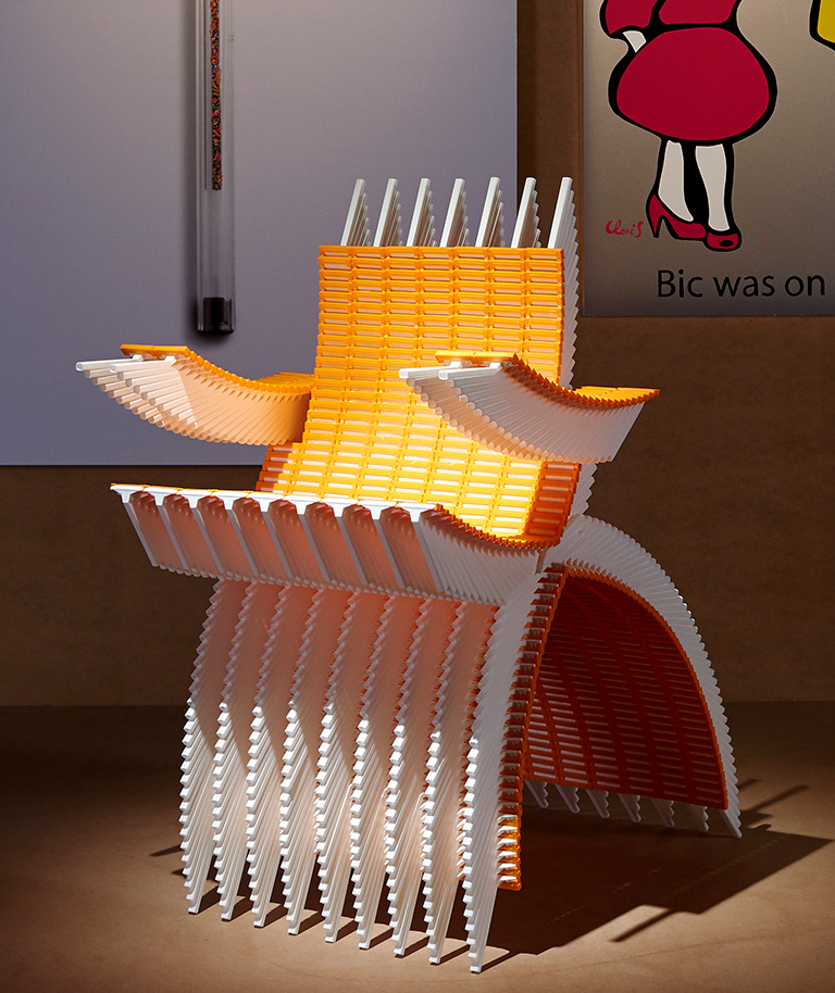 artistic work: a chair made of bic razors