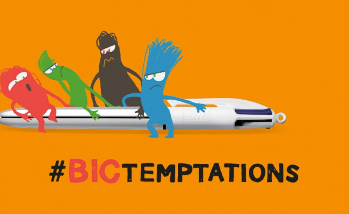 bic temptations logo with a bic 4 colors pen and 4 colored characters