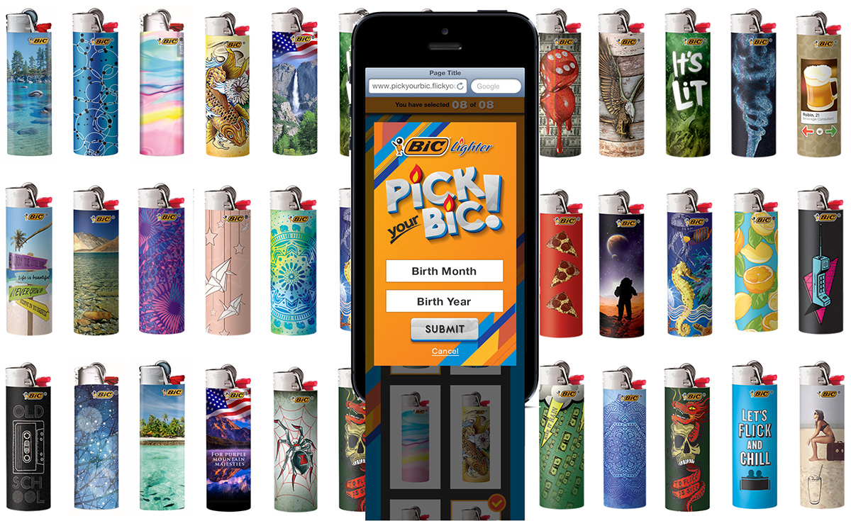 several decorated bic lighters and the app for lighter personnalization