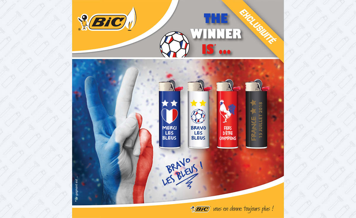 series of 4 lighters decorated french football team