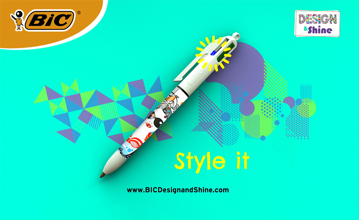 ad for the decorated bic 4 colors pen