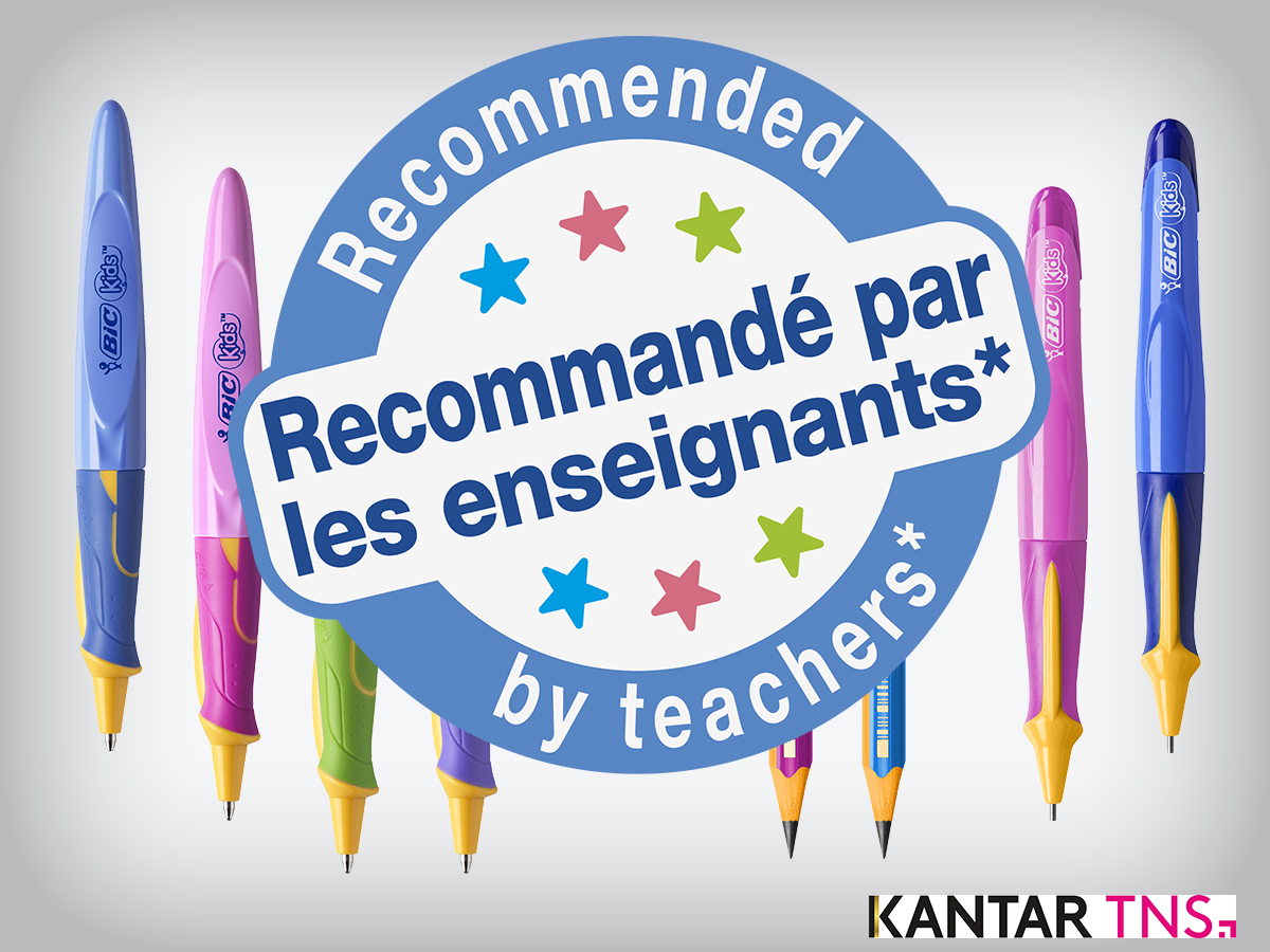 logo bic learner range recommended by teachers Kantar Media