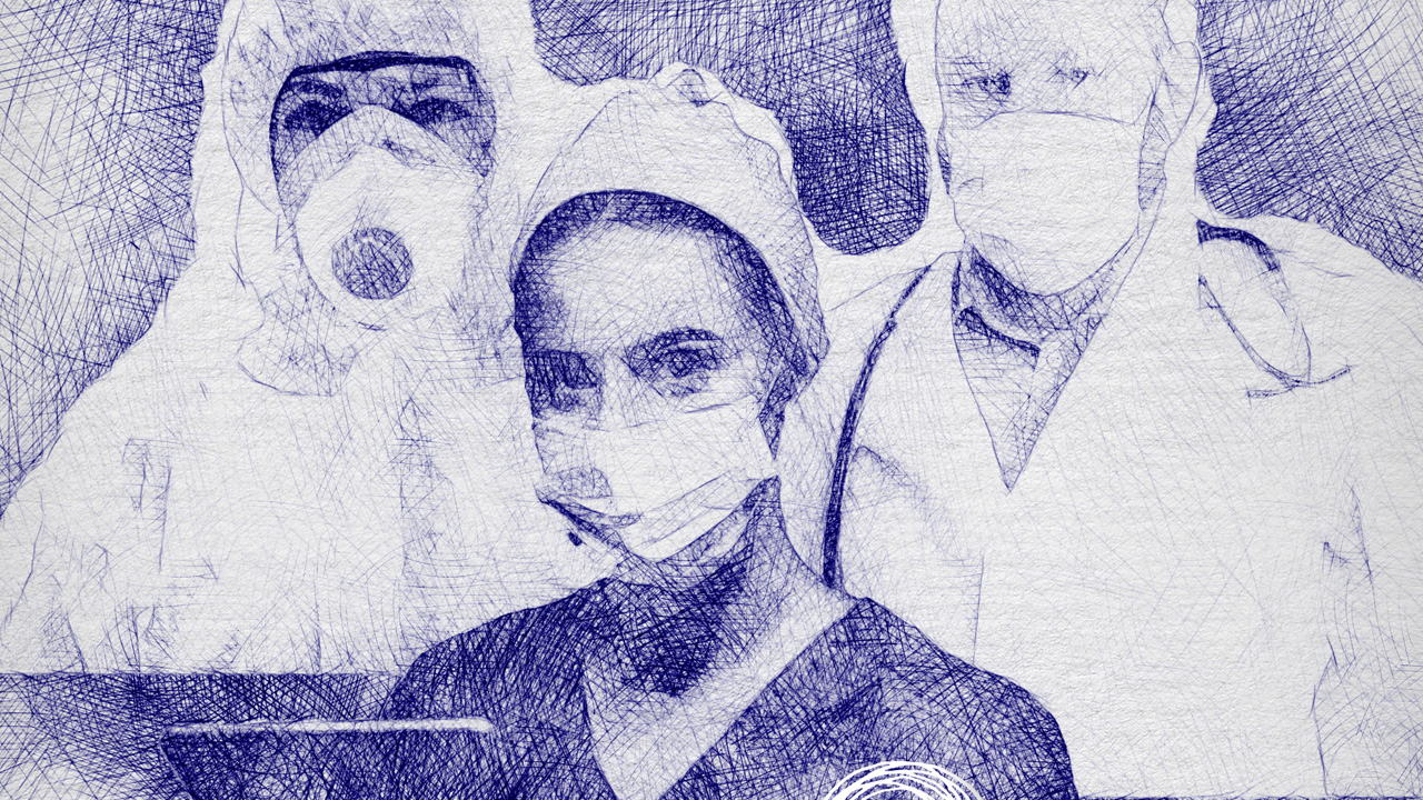 ballpoint pen drawing of healthcare workers in protective gear