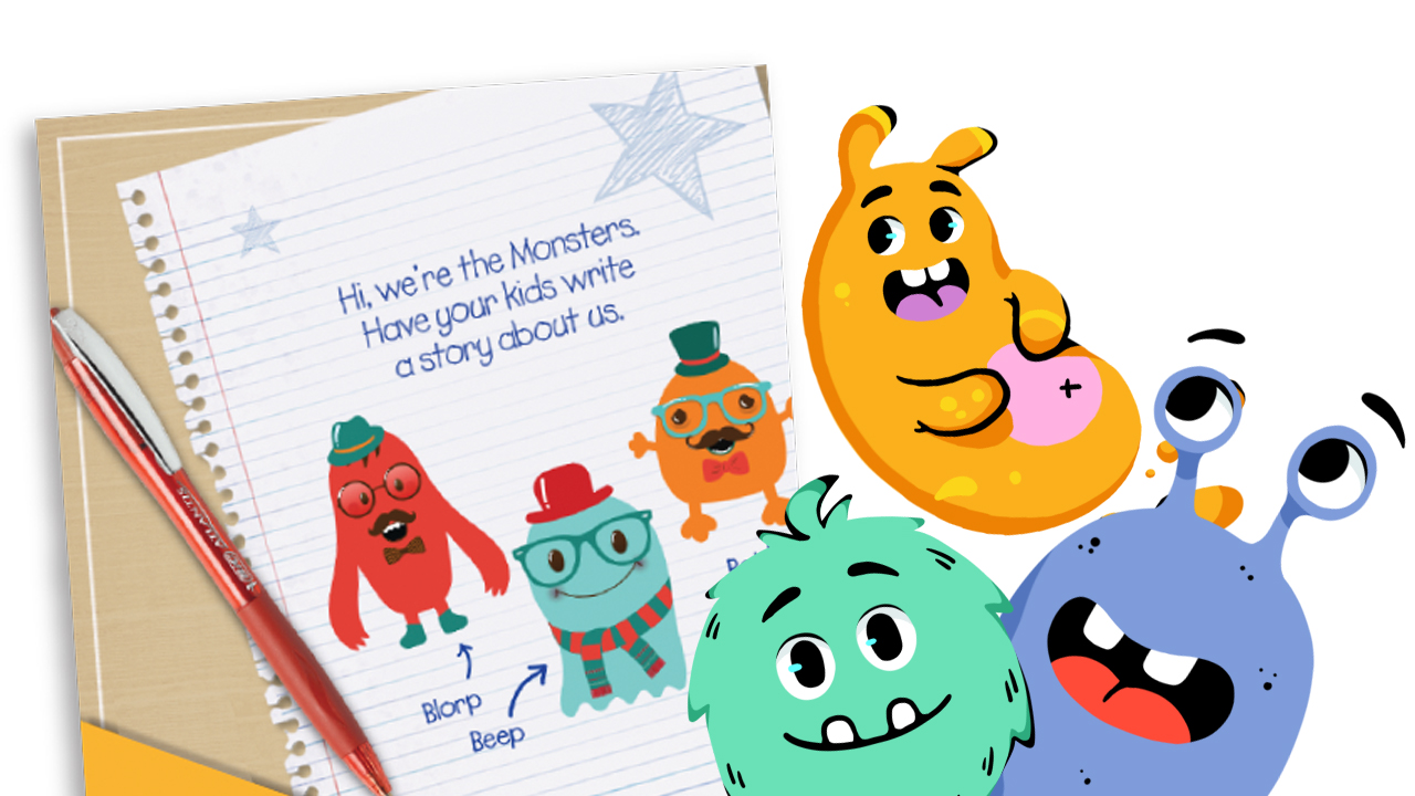 Writing prompt activity with cute monsters