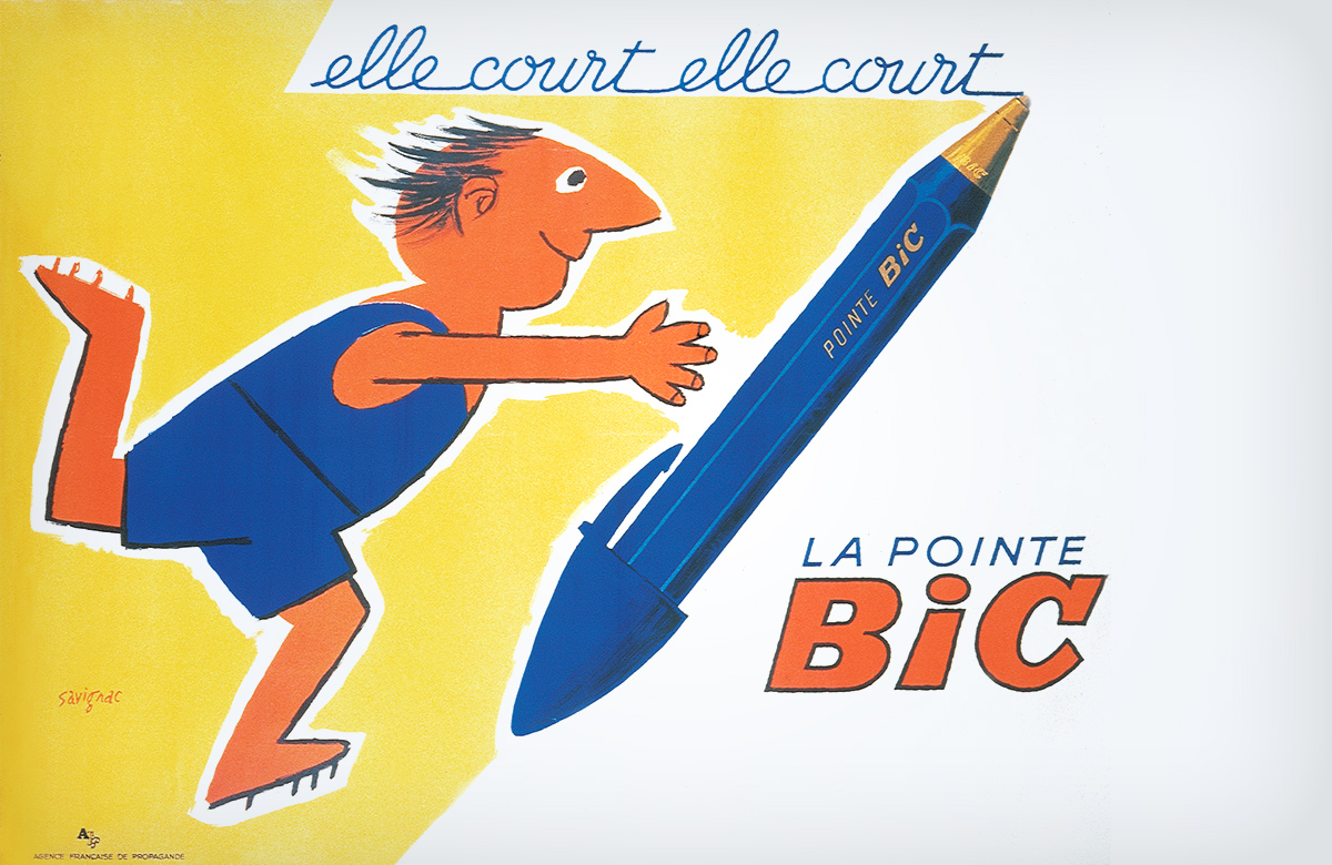 French BIC advertisement, child running after a BIC pen