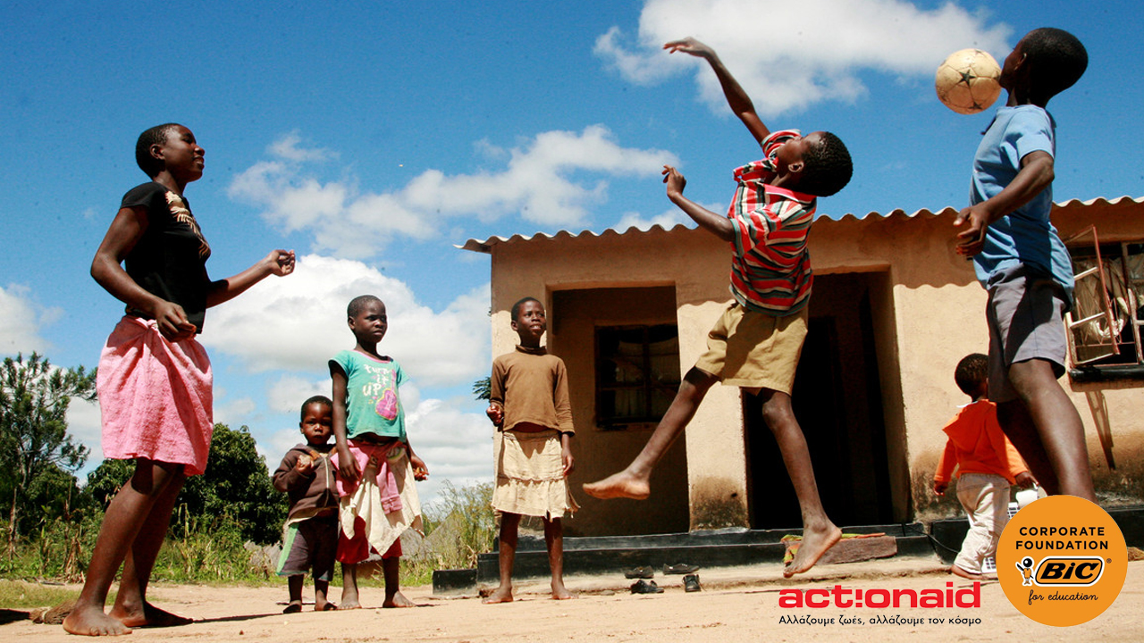 Children playing soccer, with BIC Corporate Foundation and ActionAid logos