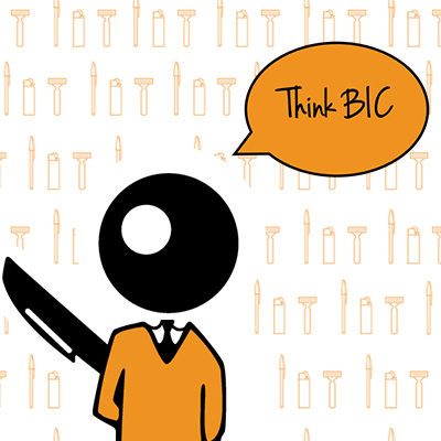 "BIC Boy against background of white with orange lighter, shaver and pen icons, with ""Think BIC"" speech bubble over his head."