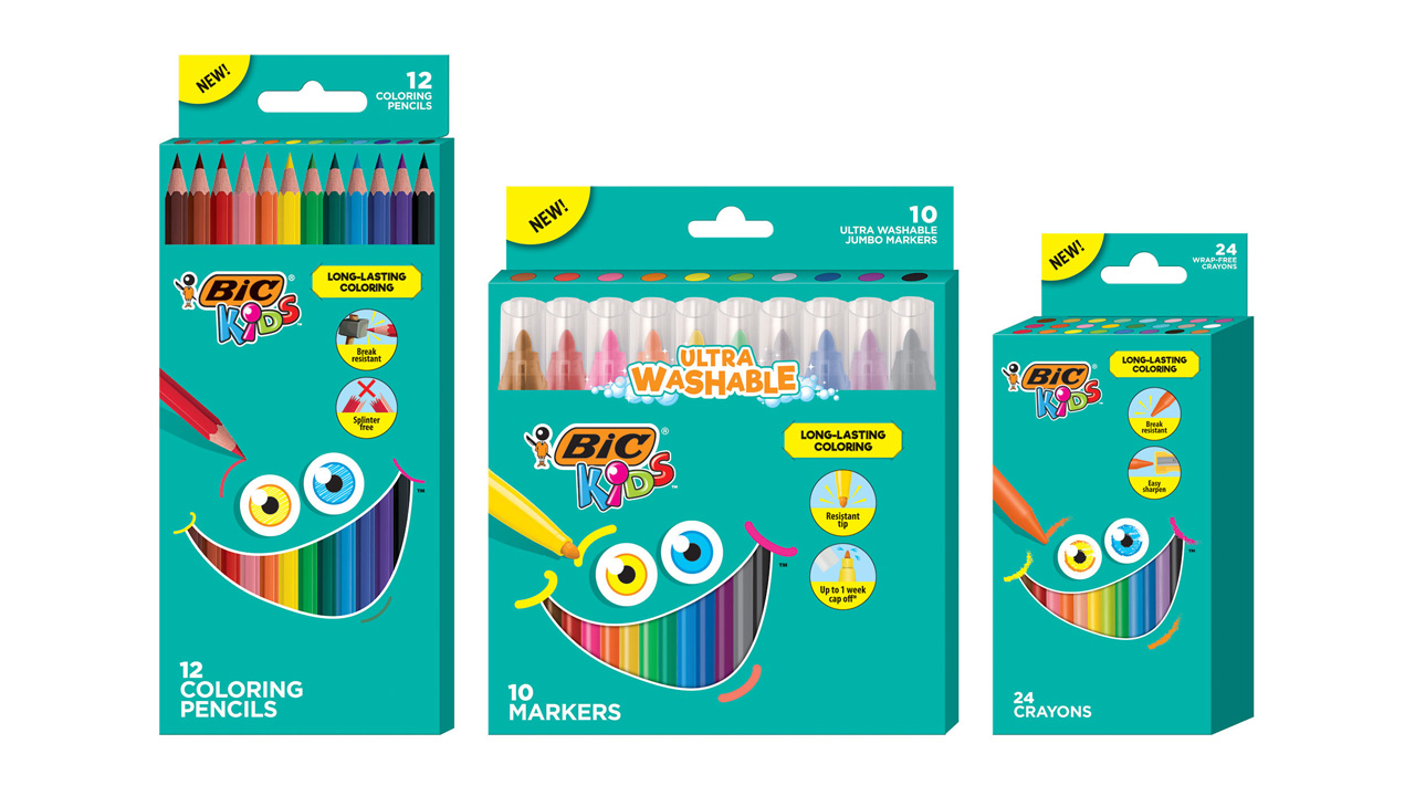 Assorted BIC Kids coloring items, including colored pencils, crayons and markers