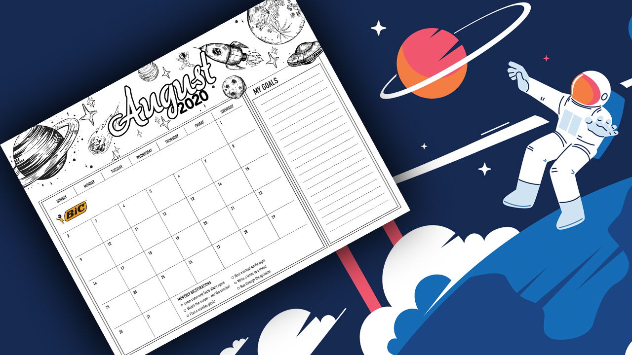 August calendar against outer space background