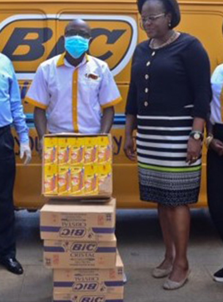 BIC Africa team with boxes of donated pens