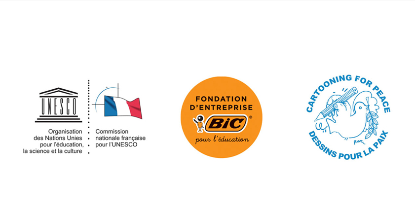 French National Commission for UNESCO, BIC Corporate Foundation and Cartooning for Peace logos