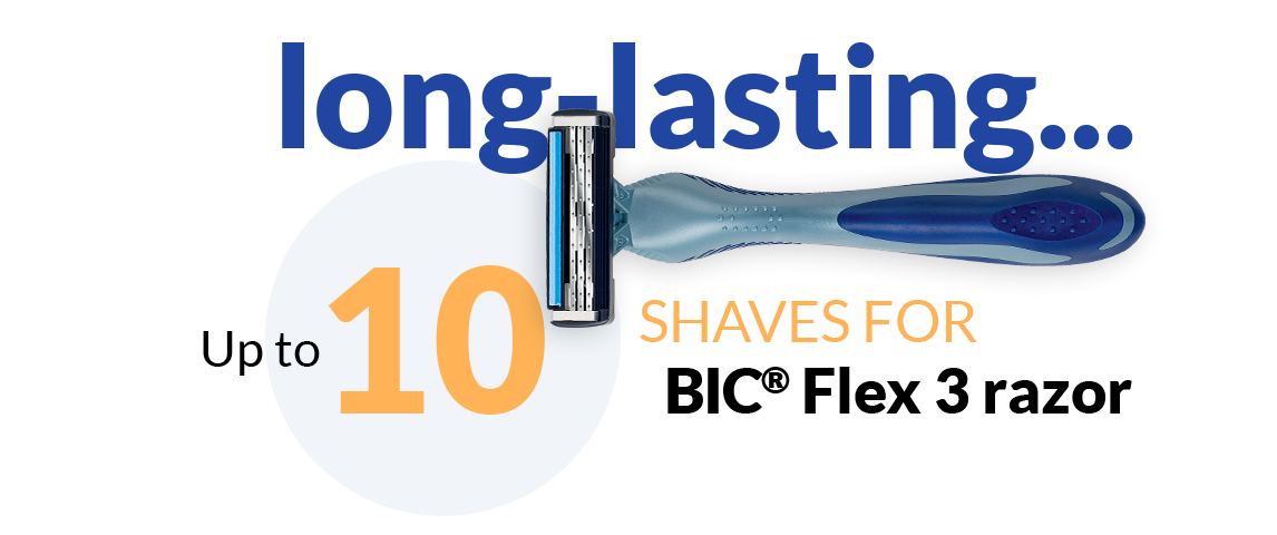BIC Flex 3 razor and text up to 10 shaves